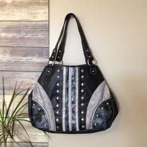 Black, silver purse hobo handbag
